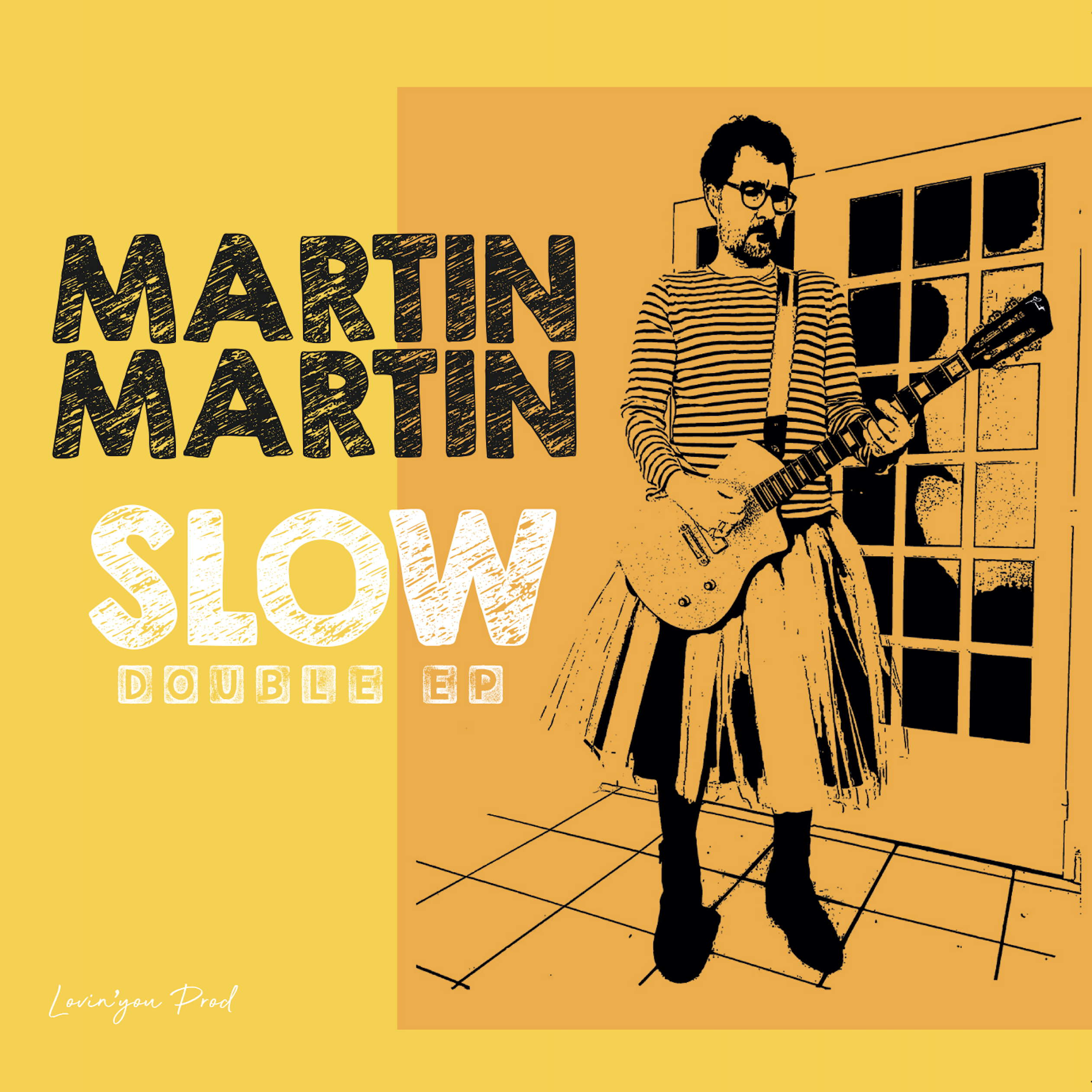 Voici la ochette de SLOW, le premier album de MARTINMARTIN. Il apparaît avec son tutu et sa Lou Juniore, guitare à paillette créée par Girault Guitars.